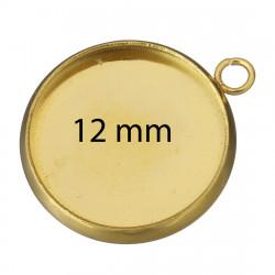 Kruhové lůžko VNITŘNÍ ČÁST 12mm z chirurgické oceli ve zlaté galvanizaci