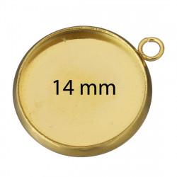 Kruhové lůžko VNITŘNÍ ČÁST 14mm z chirurgické oceli ve zlaté galvanizaci
