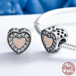 Korálek srdce s růžovým emailem zdobené zirkony AG 925