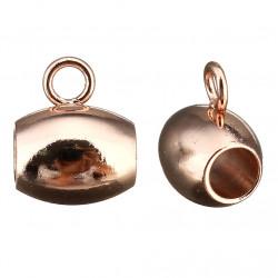 Korálek s očkem 7 x 9mm v galvanizaci Rose Gold z chirurgické oceli