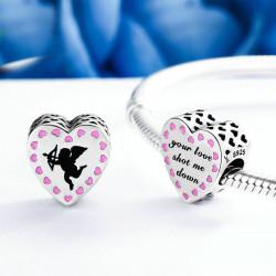 Růžové srdce s Amorem AG 925/1000