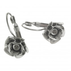 Náušnice mechanická s kytičkou z chirurgické oceli