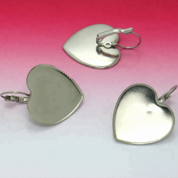 Náušnice mechanická s miskou ve tvaru velkého srdce z chirurgické oceli