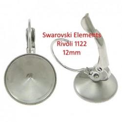 Náušnice pro Swarovski rivolli 12 mm, chirurgická ocel
