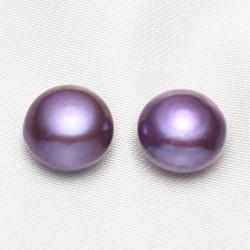 Perla sladkovodní polovrtaná tmavě modrofialová 12mm