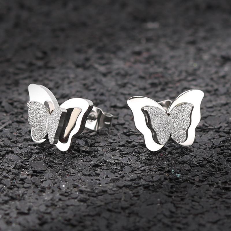 Náušnice motýlek puseta z chirurgické oceli e6f126447ad